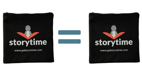 Picture of two Storytime book club sustainable shipping bags with an equals sign between them symbolizing Storytime's 1 for 1 giveback program.