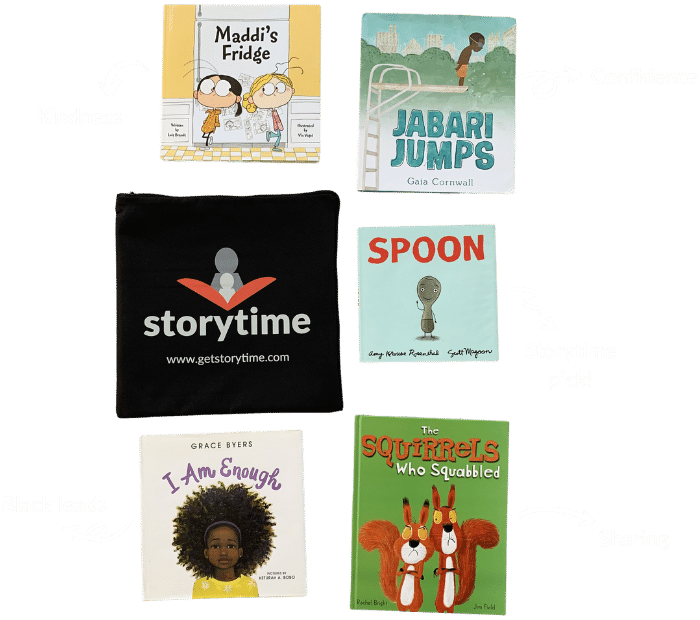 An example shipment from the Storytime kids book subscription showing the best books for teaching kindness, confidence, sharing and black leads.